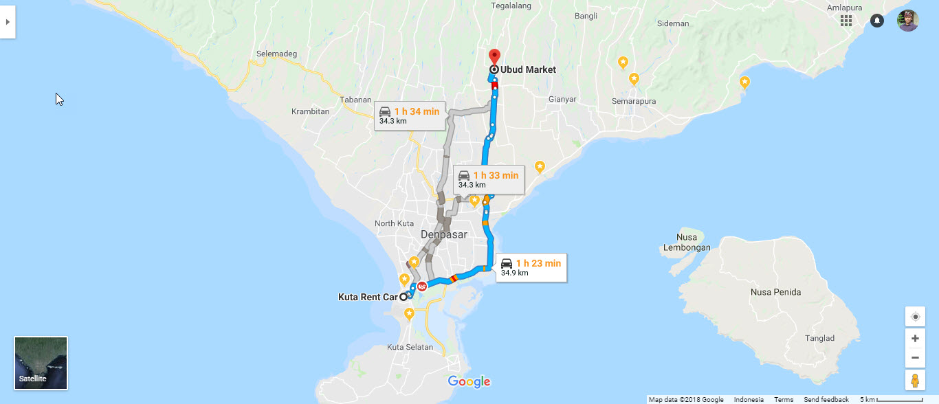 Gps Using Google Map Kuta Rent Cars Bali Car Hire